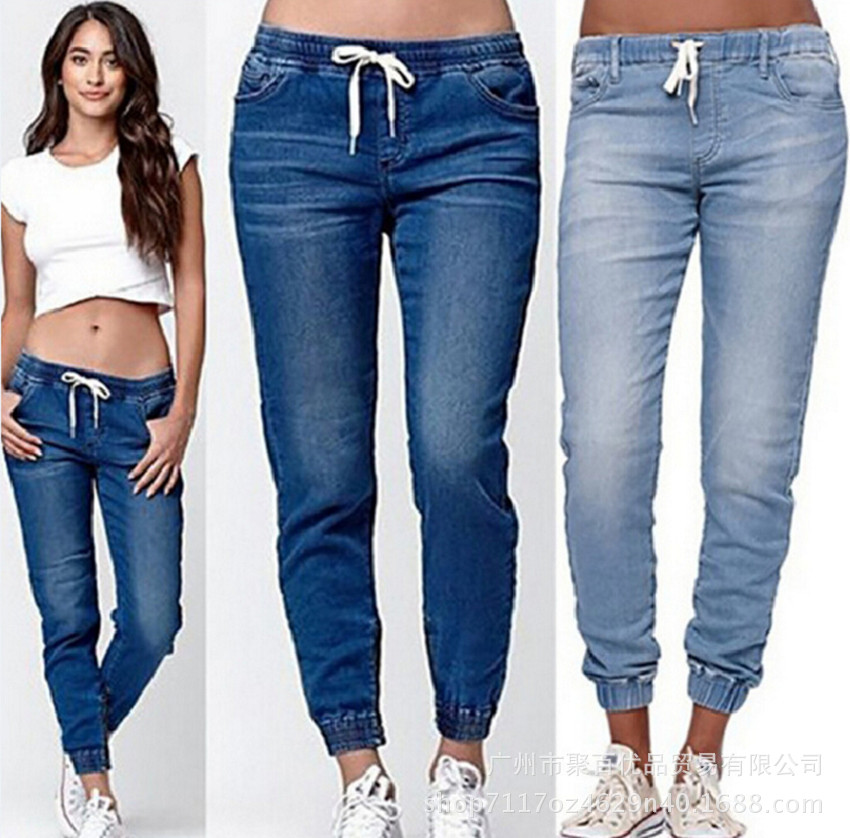 Lugentolo Jeans Woman Drawstring Pockets Pencil Casual  Full Length Summer Light Softener Plus Size Women Jeans