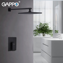 GAPPO Wall Mount Bathroom Rain Waterfall Shower Faucets Set Black Concealed System Bathtub Mixer Faucet Tap