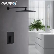 цена на GAPPO Wall Mount Bathroom Rain Waterfall Shower Faucets Set Black Concealed Shower System Bathtub Shower Mixer Faucet Tap
