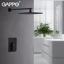 GAPPO Wall Mount Bathroom Rain Waterfall Shower Faucets Set Black Concealed Shower System Bathtub Shower Mixer Faucet Tap(China)