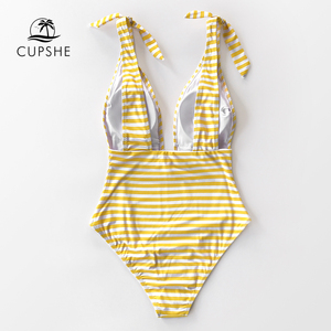 Image 5 - CUPSHE Stripe Print Deep V neck One Piece Swimsuit Women Sexy Backless Bow knot Monokini 2020 Girls Beach Bathing Suit Swimwear