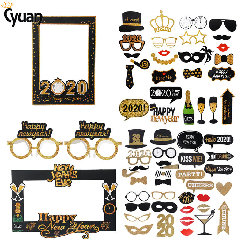 Happy New Year 2020 Photo Booth Frame Props Hat Mustache Lip Photobooth Props Cheers New Year Eve Party Favors Christmas Decor