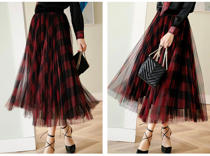H2b846657492b4c7f94ea2bc0f5077eb5o - TIGENA Green Red Long Plaid Tutu Tulle Skirt Women Fashion New Elegant A Line High Waist Pleated Maxi Skirt Female Ladies