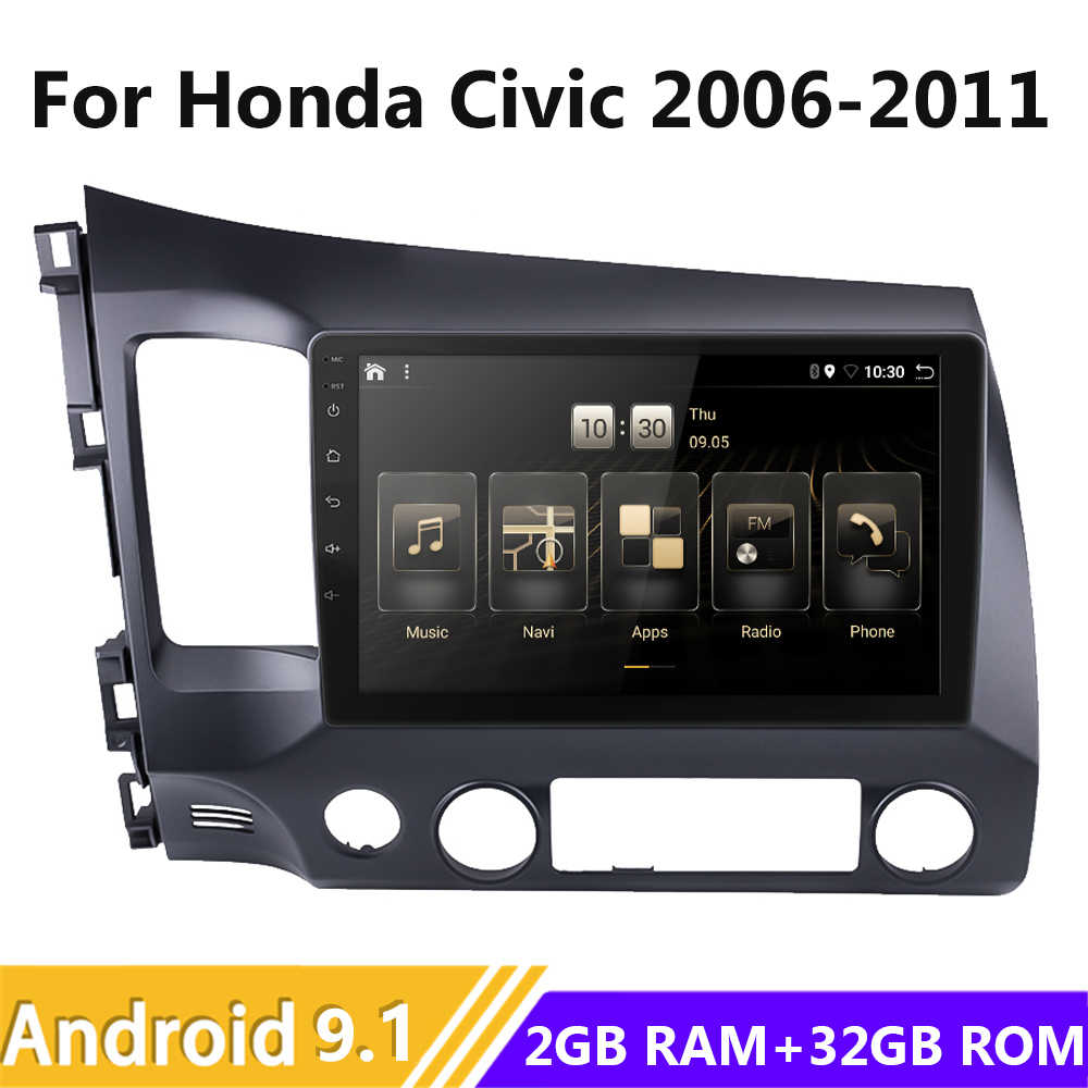 Android 9.1 Auto Autoradio Multimedia Radio Stereo Voor Honda Civic 2006-2008 2009 2010 2011 Gps Navi Audio Video speler Wifi 10.1""