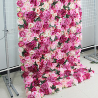 SPR 4ft*8ft roll up cloth flower wall Artificial rose wedding occasion backdrop arrangement flowers decorations free shipping