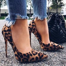 High Heels Leopard Shoes Women Pumps Office Lady Pointed Toe