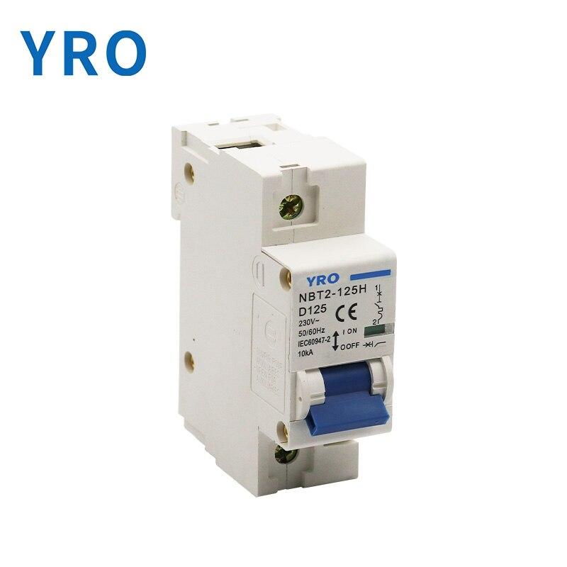 Interruptor NBT2-125 1p 80a100a 125a 230vac mcb, interruptor principal em miniatura, interruptor curvo d mater
