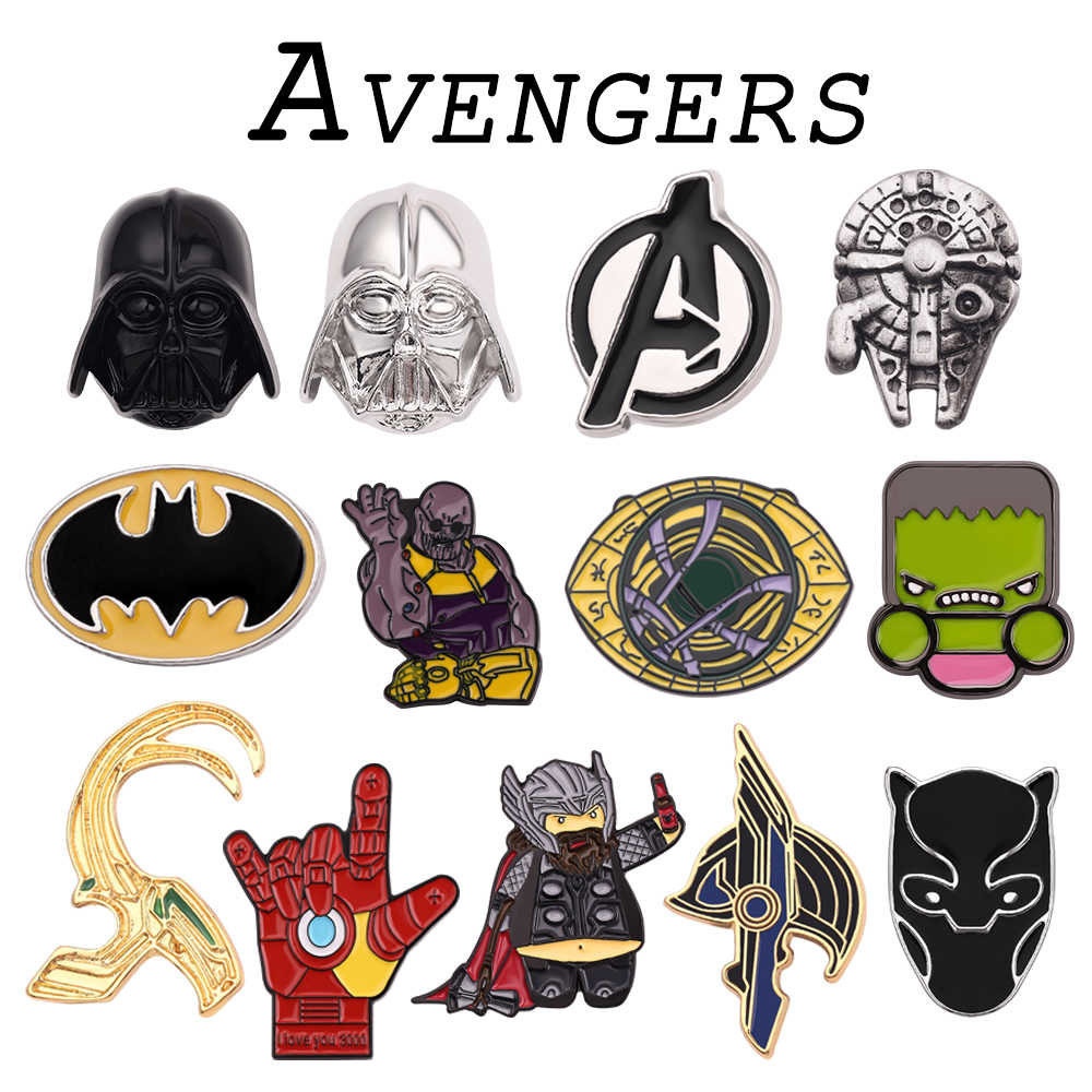 Avengers Brooch Pins Thor Loki Iron Man Captain America Superhero Dr who Black Panther Brooches For Women Men Gift