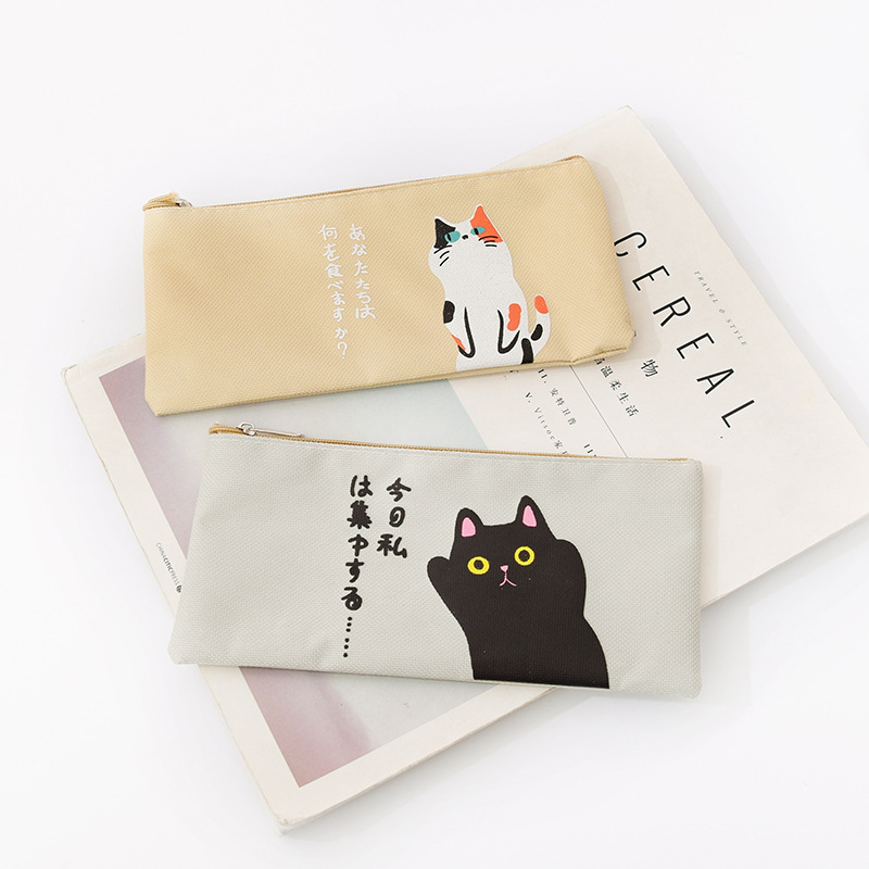 Girls Cartoon Makeup Pouch Canvas Women Cosmetic Bag Cute Cat Toiletry Washing Pocket Travel Necessary Brush Organizer Bags