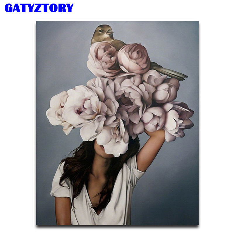 GATYZTORY Frame Figure Picture Painting By Numbers Flowers Women Diy Gift Wall Art Canvas By Numbers Acrylic Art For Home Decors
