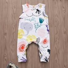 Комбинезон для младенцев, для новорожденных, белый, без рукавов, маленький хлопок, Цветочный, одежда для малышей, комбинезон, одежда для мальчиков и девочек