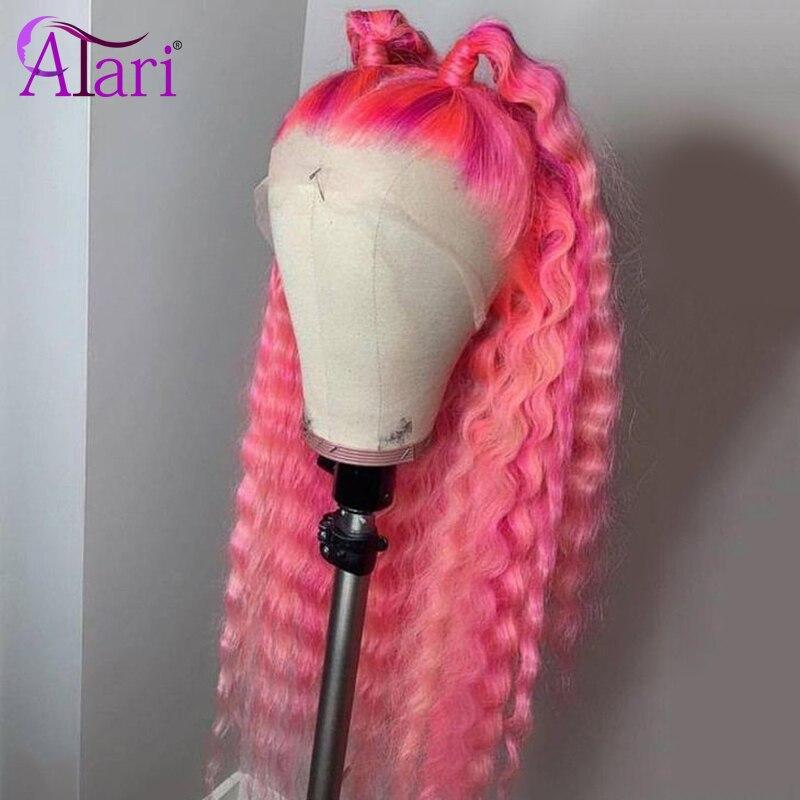 Hd transparente 30 Polegada 613 onda profunda peruca dianteira do laço rosa roxo colorido perucas de cabelo humano peruano virgem perucas para preto