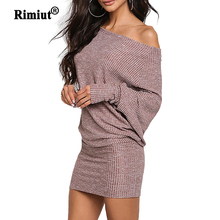 Rimiut One Shoulder Loose Knitted Plus Size Women Dresses Autumn Winter Sweater Dresses Mini hip dress
