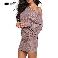 Rimiut ワンショルダーニットプラスサイズの女性のドレス秋冬セータードレスミニヒップドレス