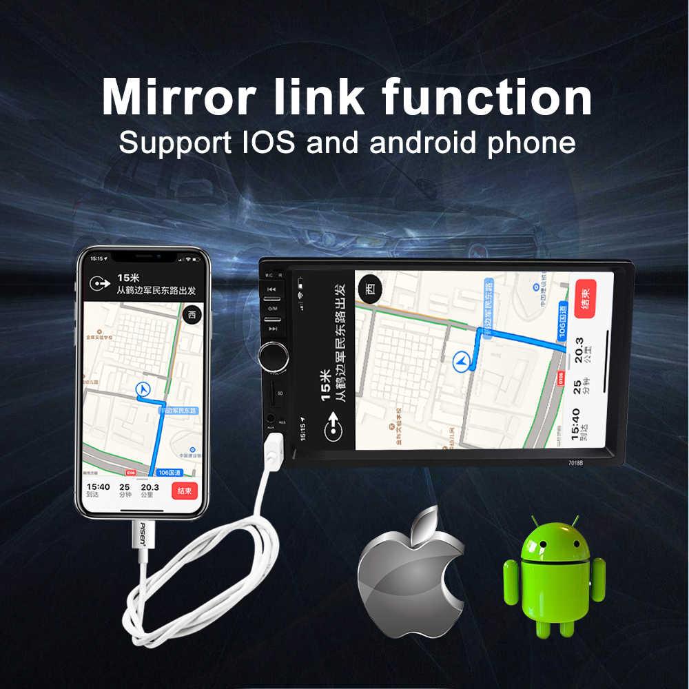 Carsanbo 2 Din 7 Cal Radio samochodowe odtwarzacz multimedialny stereo z ekranem dotykowym MP5 lustro Link Android/IOS Bluetooth FM SD USB AUX wejście
