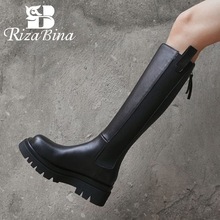 Winter Shoes High-Boots Flat-Heel Knee Zipper RIZABINA Real-Leather Size-33-42 Fashion