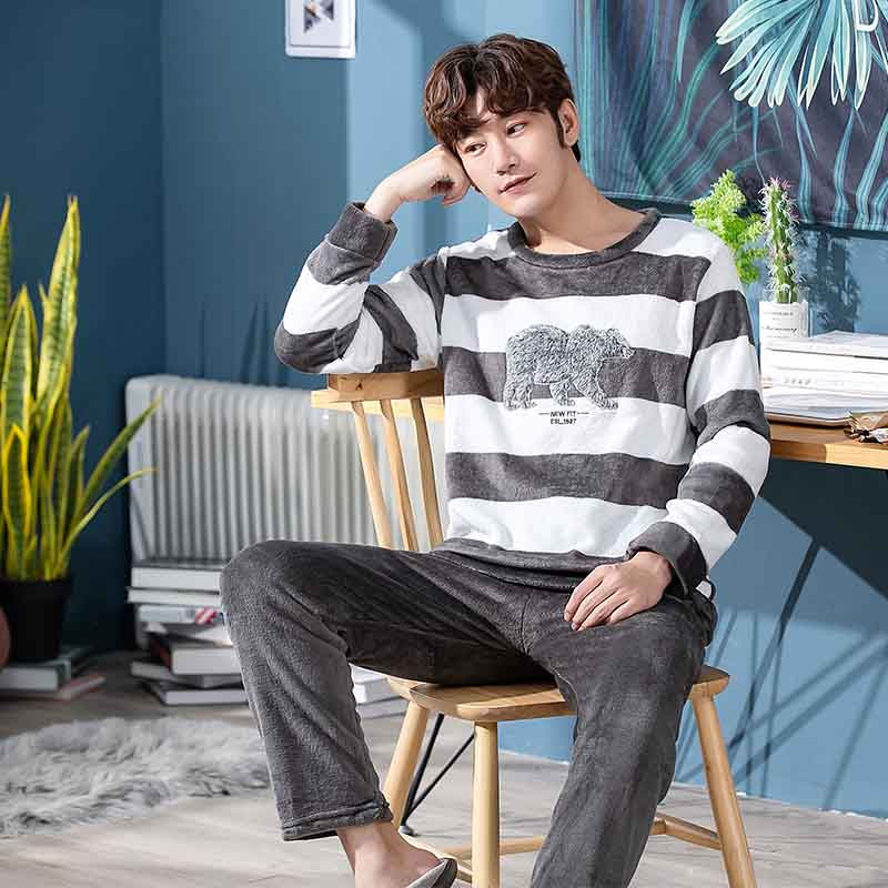 2019 Winter Casual Striped Thick Warm Flannel Long Sleeve Pajamas Sets For Men Sleepwear Suit Loungewear Homewear Home Clothes