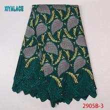 Африканская кружевная ткань высокое качество кружевные цветы Tullle кружевной ткани Французский листья вышивка кружевной ткани для вечерние YA2905B-3