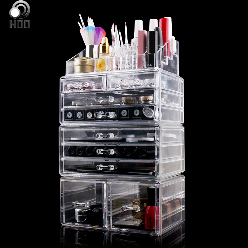 NOQ Large Acrylic Nail Art Jewelry Storage Box 4th Floor Rack Nail Display Stand Holder Makeup Manicure Tools Organizer