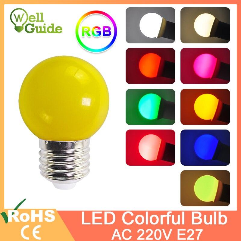 Led Bulb E27 3W AC 220V G45 RGB Led Lamp Bomlillas Colorful Lampada Ampoule Led Light SMD 2835 Flashlight Globe Bulbs Holiday