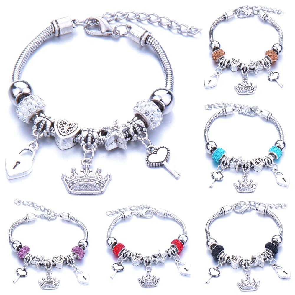 Antico originale corona chiave blocco forma 6 colori braccialetti con ciondoli per le donne perle di vetro braccialetto di marca e braccialetto regali gioielli fai da te 1