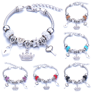 Antique Original Crown key lock Shape 6 colors Charm Bracelets For Women Glass Beads Brand Bracelet & Bangle DIY Jewelry Gifts(China)