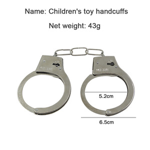 Funny Prank Kids Toys Silver Metal Handcuffs With Keys Police Cosplay Tool Toys For Children Boy Tricky Props Game Funny Gadgets