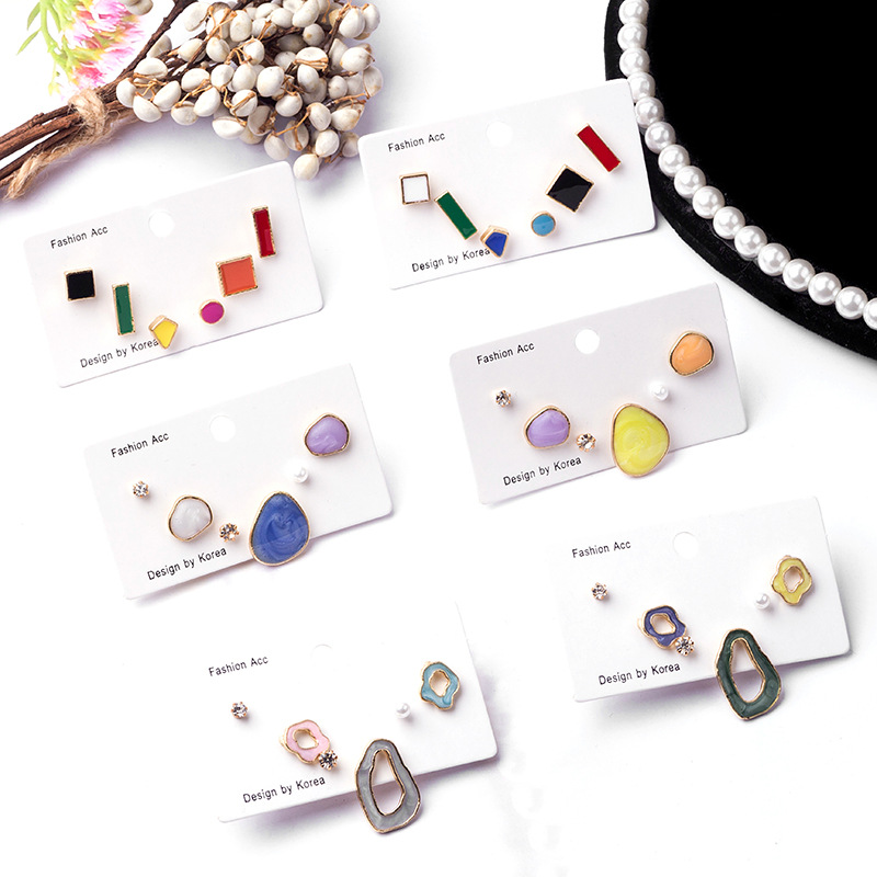 New Fashion Women Japan Korean Candy Color Geometric Irregular Glaze 6pcs/Set Stud Earrings Sweety Pendientes Jewelry
