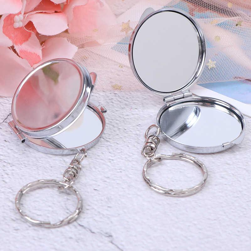 1 Uds. Llavero espejo plegable portátil compacto espejo cosmético de maquillaje con llavero