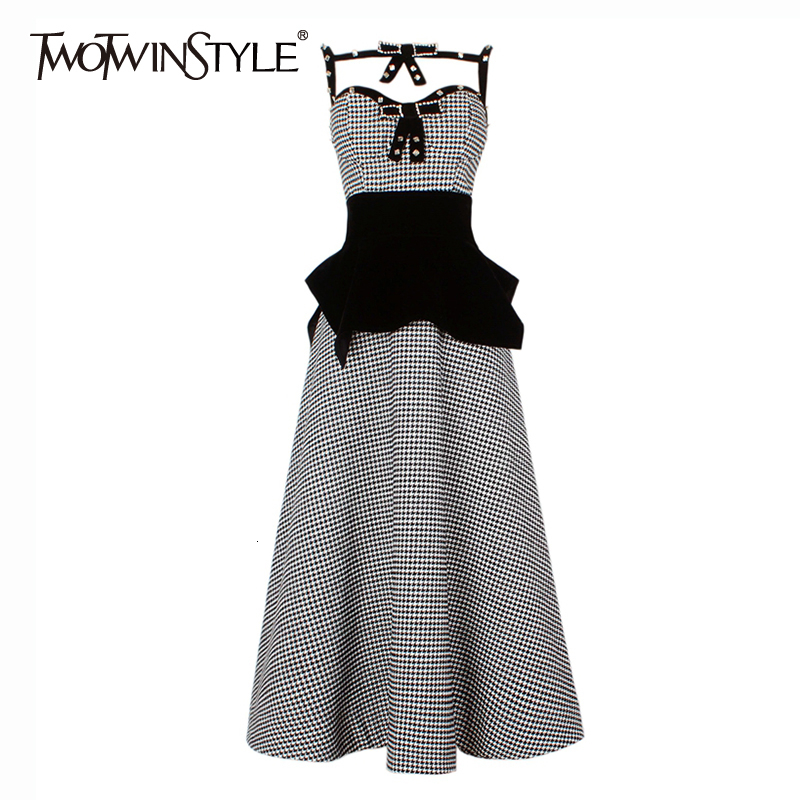 TWOTWINSTYLE Two Piece Sets Women Sexy Patchwork Diamond Spaghetti Strap Vest High Waist Skirt Irregular Waist Seal Suits Female