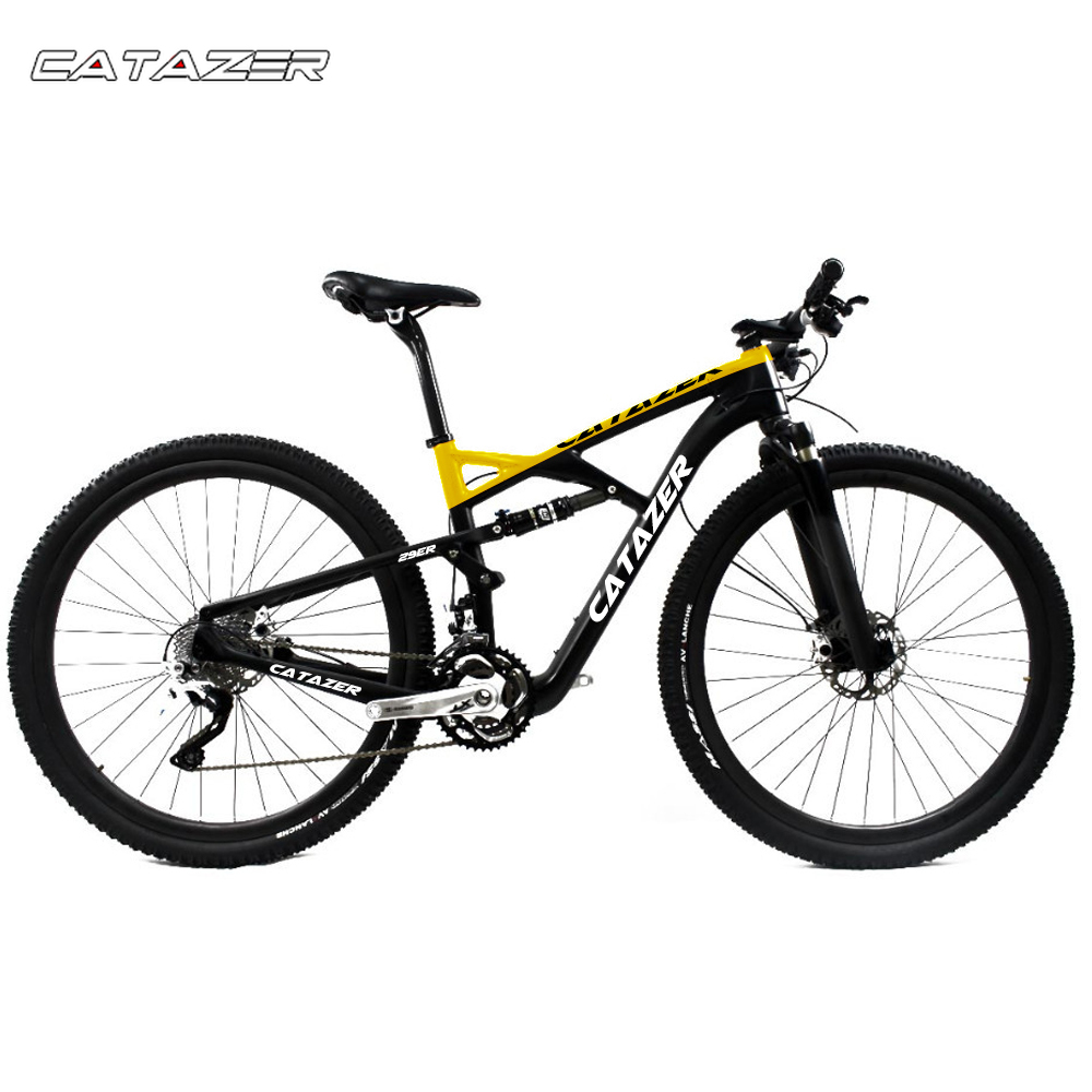 CATAZER Carbon Mountain font b Bike b font 26er Wheelset Suspension Frame 20 30 Speeds Profession