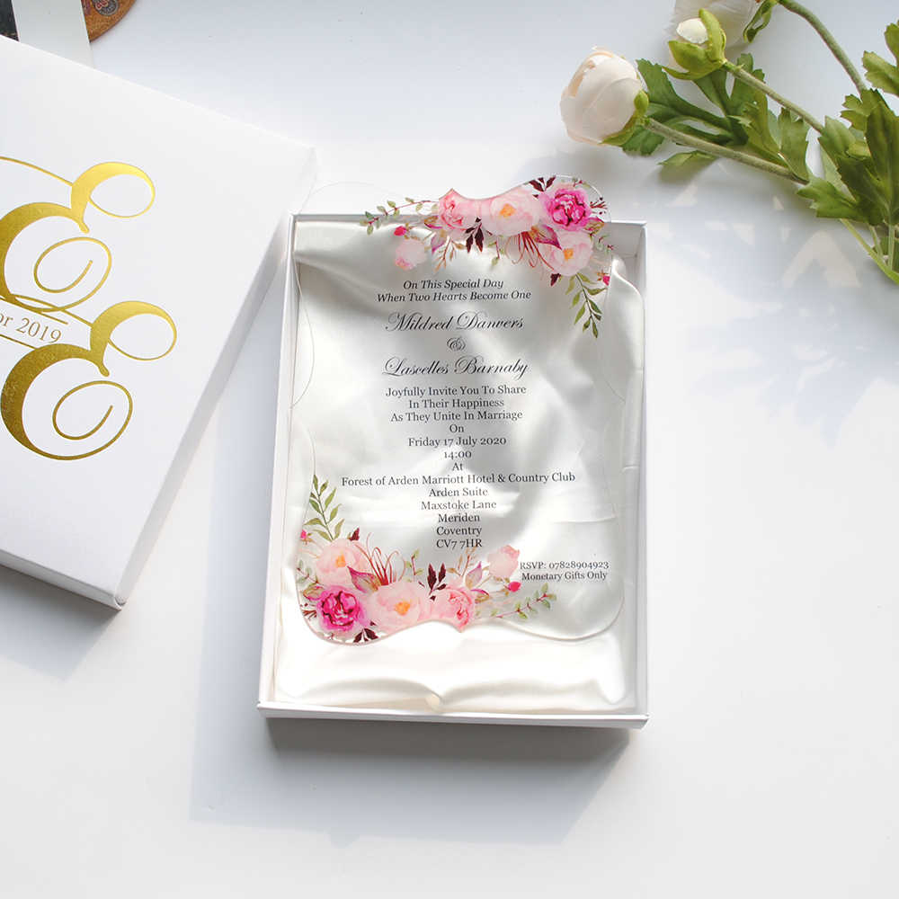 10pcs Newest Transparent Glass Acrylic Wedding Invitation Card Gold And Black Words Printing Wedding Favor Invitations Sample