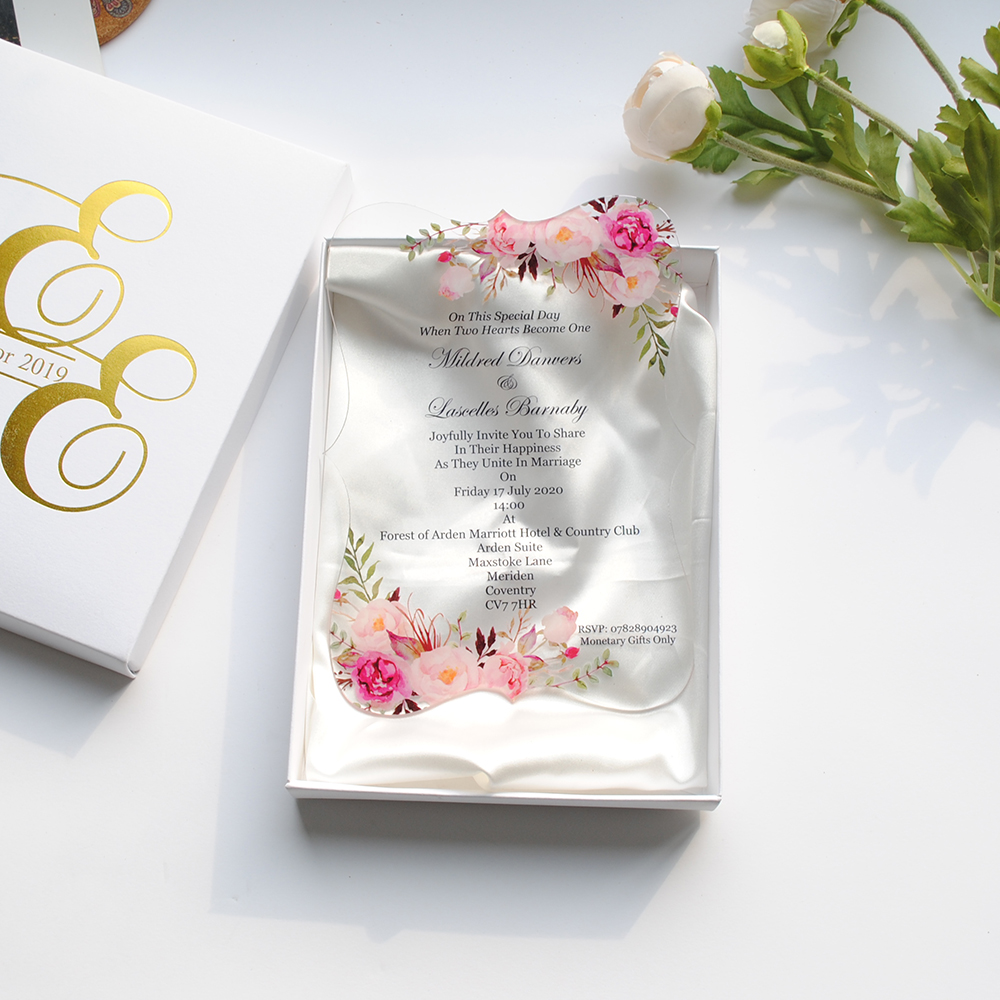 Us 13 0 10pcs Newest Transparent Glass Acrylic Wedding Invitation Card Gold And Black Words Printing Wedding Favor Invitations Sample In Cards