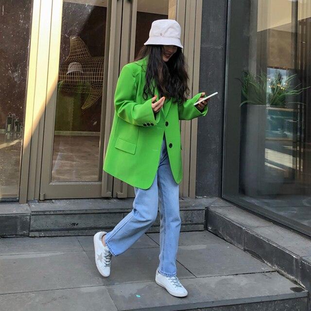 [EAM]  Women Green Split Joint Big Size Blazer New Lapel Long Sleeve Loose Fit  Jacket Fashion Tide Spring Autumn 2021 1DA452 4