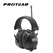 Protear NRR 25dB Hearing Protector AM วิทยุ FM Earmuffs อิเล็กทรอนิกส์ป้องกันหูวิทยุป้องกัน