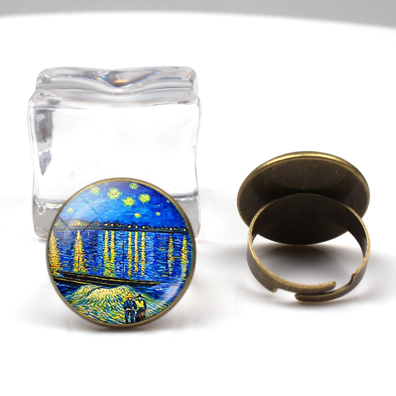 Fashion retro Van Gogh art painting series ring star night glass crystal wheel charm men women ring party holiday gifts souvenir in Rings from Jewelry Accessories