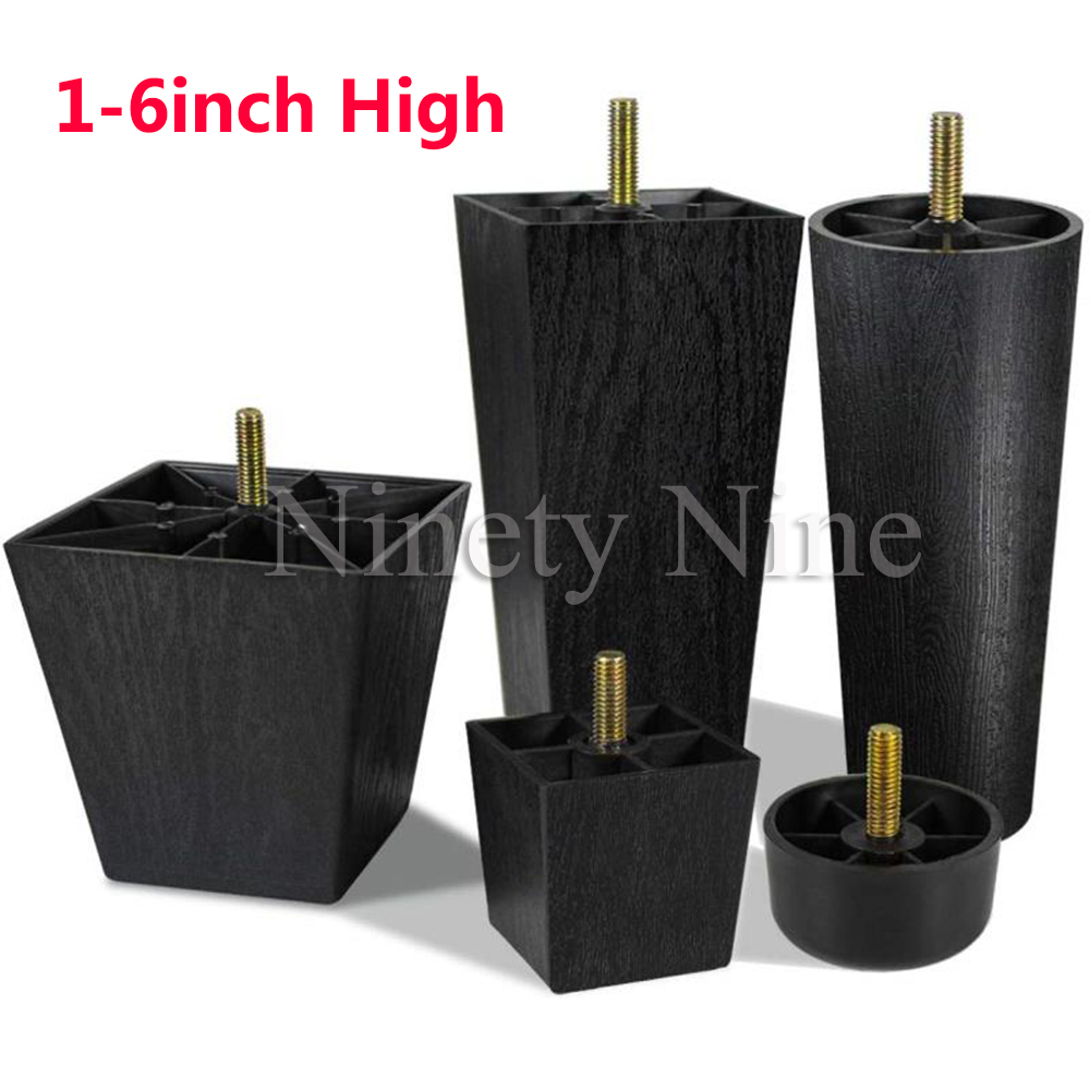 1-6 Inch High Sofa Legs Square Plastic Couch Legs Furniture Legs Riser Set Of 4 With M8 Hanger Bolts For Chair Loveseats Ottoman