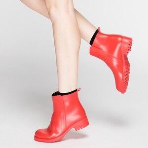 Image 5 - DRIPDROP נשים של קצר מגפי החלקה עמיד למים אופנה גשם נעלי נשי קרסול צ לסי גשם מגפי נעלי נשים