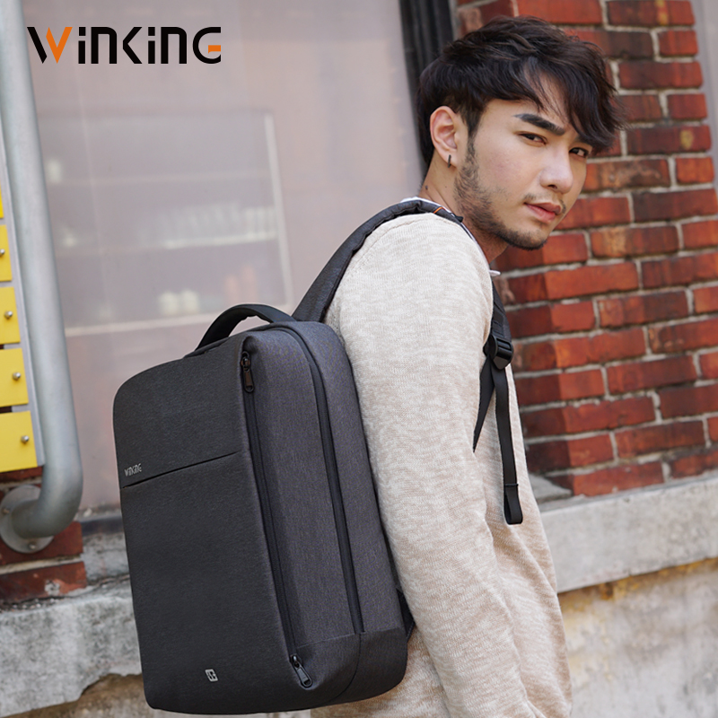 Fashionable Male Bag USB Recharging Multi-layer Anti-thief Mochila