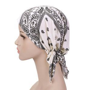 Image 3 - Мусульманский эластичный женский хлопковый шарф тюрбан шляпа для рака химиотерапии аксессуары для выпадения волос