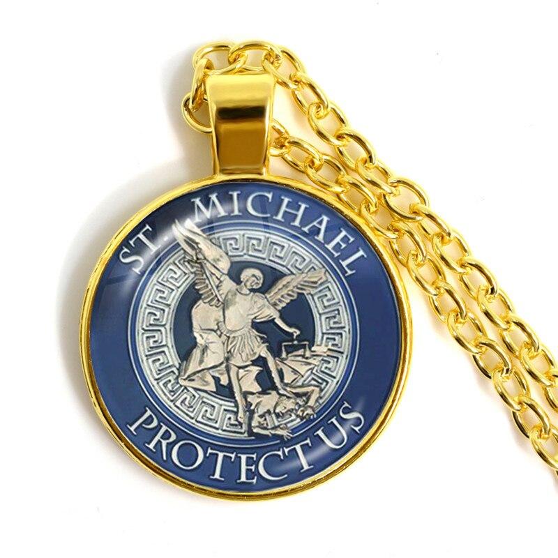 Ожерелье-Кабошон из стекла, 25 мм, 1 шт., ожерелье с надписью «St. Michael Protect Me Saint Shield», Очаровательное ожерелье с подвеской «Orhodox» из России