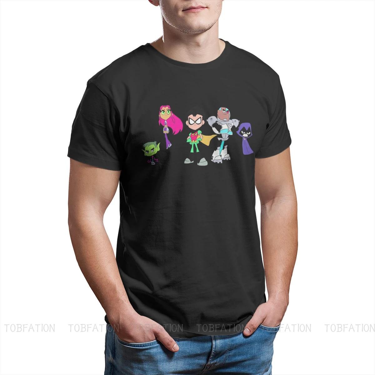 Titans GO Animated Television Series Cute Team Tshirt Black for Men Oversized T Shirt Harajuku Men's Tops Tee