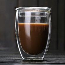 Термостойкая стеклянная чайная чашка с двойными стенками 350 мл, кофейная чашка, кружки с прозрачной изоляцией, пивные стеклянные кружки, пивная кружка, чашка, посуда для напитков