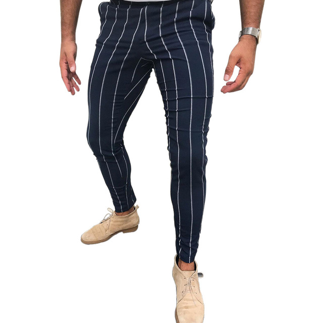 New Mens Casual Pants Striped Breathable All-match