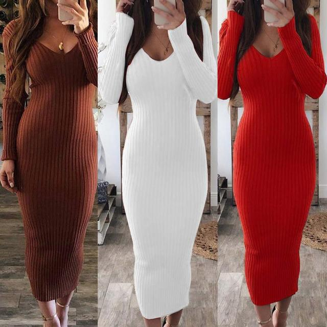 Sexy Women Long Sleeve V Neck Backless Ribbed Bodycon Sliming Knitted Midi Dress Party Dress Vestidos summer dress 1