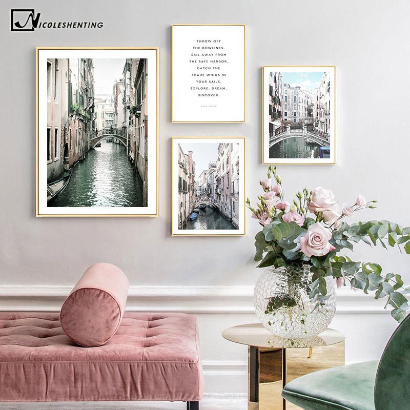 Venice Italy City Canvas Poster Architecture Landscape Print Wall Art Painting Nordic Decorative Picture Modern Home Decoration