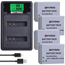4Pcs NB-6L NB 6L NB-6LH Battery + LCD Dual USB Charger With Type c Port for Canon IXUS 310 SX240 SX275 SX280 SX510 SX500 HS 95 cheap Batmax Camera NB-6L NB-6LH Standard Battery Rechargeable Li-ion battery 1300mAh 3 7V