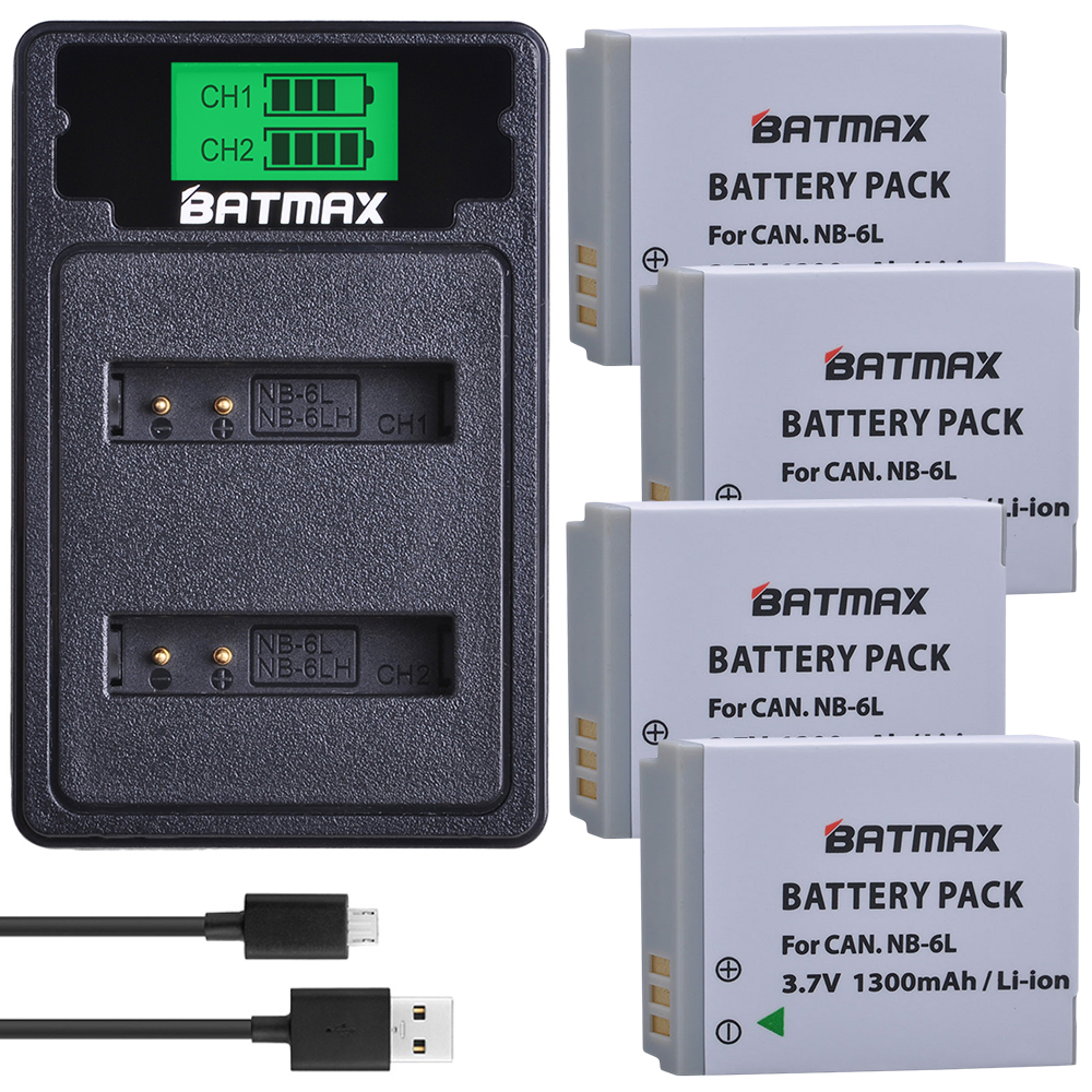 4Pcs NB-6L NB 6L NB-6LH Battery + LCD Dual USB Charger With Type C Port For Canon IXUS 310 SX240 SX275 SX280 SX510 SX500 HS 95