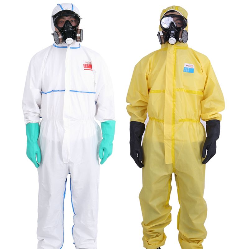 Protective Suit Coveralls With Cap Full Body Protection, SMS Nonwoven Labor Insurance Safety