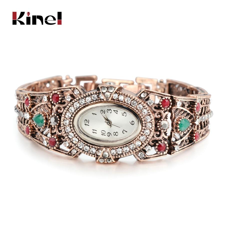 Vintage Turkish Wrist Watch Bangle Jewelry Women Crystal Flower Quartz Watch Bracelet Antique Gold Adjust Size Aegean Sea Cuff